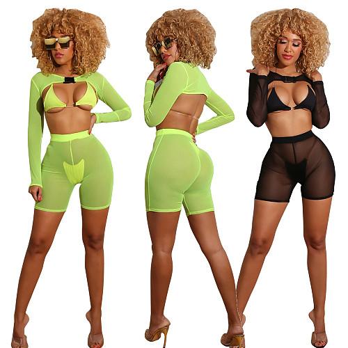 2020 Sexy Perspective Mesh Bikini Swimsuits 4pcs Set SFY-115