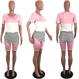 Casual Women Round Neck Striped Patchwork 2 Pieces Short Set LUO-3054