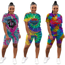 Stylish Tie-dye Round Neck Tees And Skinny Shorts 2 Pieces Set LQ-5819