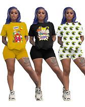 Cartoon Print Round Neck Tees And Skinny Shorts 2 Pieces Set LQ-5820