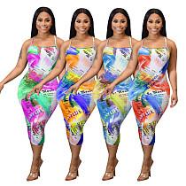 Sexy Backless Sleeveless Printed Skinny Maxi Dress AL-166