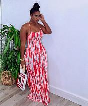2020 Sexy Backless Sleeveless Tie-dye Long Dress YM-9196