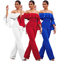 2020 Sexy Strapless Off Shoulder Ruffles Long Jumpsuit SMR-9586