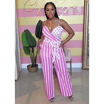 Fashion Straps Sleeveless Striped Straight-legs Jumpsuit ME-519