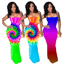 2020 Hot Sexy Backless Printing Sleeveless Split Long Dress LDS-3201