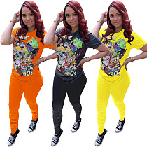 Stylish Cartoon Printed Short Sleeve Sporty Two Pieces Pants Set OMY-8030