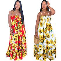 Summer Sunflower Printed Halter Wide Swing Maxi Dress SMN-3087