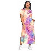 Fashion Tie-dye Short Sleeves Split Long Dress GS-1809