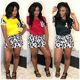 Summer Round Neck Short Sleeve Tops+Leopard Shorts LP-6209