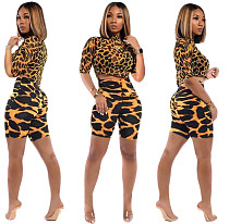 Leopard Printed Crop Tops+Tight Shorts Set KSN-5125