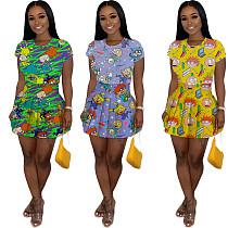 Cute Cartoon Printed T-shirt+High Waist Pleated Skirt Set MIL-098