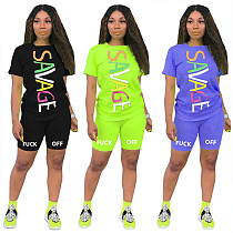 Letter Printed Short Sleeve Sport 2 Pieces Set MIL-094