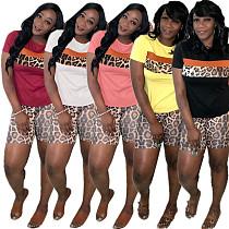 Women Leopard Printed Splicing Two Pieces Short Suits LP-6193
