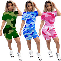 Camouflage Printed Short Sleeve T-shirt Sport Set MIL-091