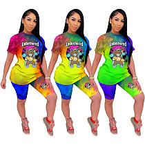 Tie-Dye Cartoon Printing Short Sleeve Two-Piece Shorts Set SHD-9241
