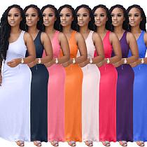 Fashion Solid Big Hem Strap Maxi Bodycon Dress OJS-9200