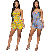Fashion Cartoon Printed Wrapped Chest Rompers AWN-5088