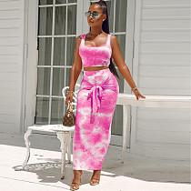Women's Tie-Dye Strap Wrap Buttock Skirt Two-Piece Set BLG-052158