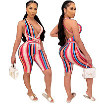 Sport Chic Sleeveless Stripe Printed Lace-Up Rompers XQY-8435