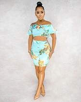 Sexy Waist - Revealing Off Shoulder Print Two-Piece Dress BS-1182