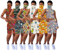 Simple Pile Collar Mask Tops+Cute Printed Shorts Set KDN-1183