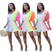 Fashionable Rainbow Print V-Neck Collect Waist Rompers BLX-7702
