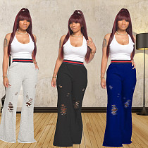 Fashion Pure Color Burnt-Out Rubber Bell-Bottom Pants MX-1092
