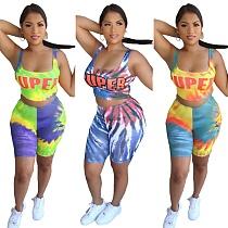 Sexy Tie-Dye Monogram Print Vest Two-Piece Set CQ-006
