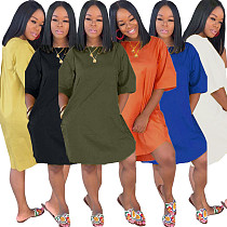 Solid Color Loose Nightclub Midi Dress with Pockets CQ-5266