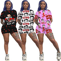 Cute Cartoon Letter Printed Round Neck Short-Sleeved Two-Piece Set NM-8200