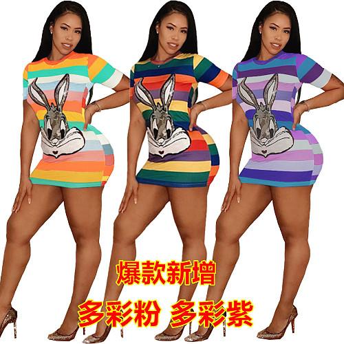 Sequin Cartoon Rabbit Round Neck Stripe Mini Dress FNN-8203