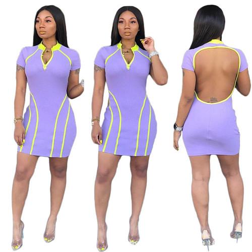 Short Sleeve Backless Round Neck Zipper One-Step Mini Dress GS-1123