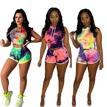 Tight Tie Exposed Umbilical Cord Cap Sleeveless Tie-Dye Print Two-Piece Set SMD-7016