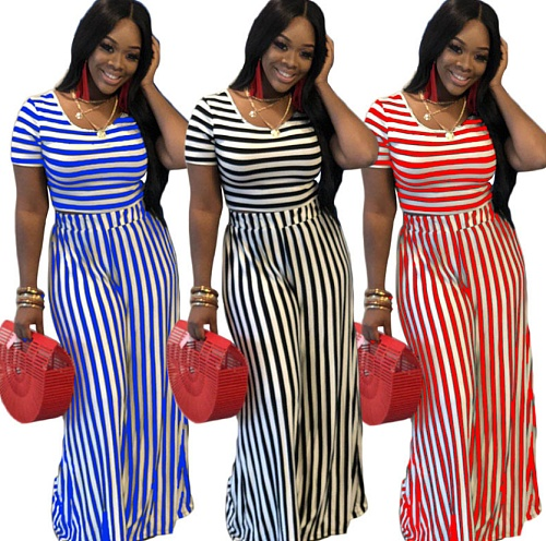 Fashion Colorful Casual Stripe Short Sleeve Straight Pants Two-Piece Set HZM-6002