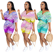 Fashion Tie-Dye Off-The-Shoulder V-Neck Two-Piece Set MOY-5191