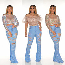 Ripped Frilled Flared Mid-Waist Light Color Jeans PN-6555