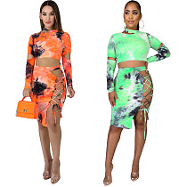 Tie-Dye Printed Lace-Up Long Sleeve Two-Piece Dress MIL-105