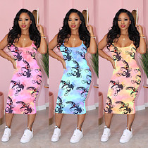 Condole Tie-Dye Rabbit Print Buttock Wrap Midi Dress MIL-101