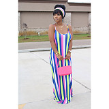 Fashion Striped Tie-Dye Halter Belt Headscarf Maxi Dress BS-1187