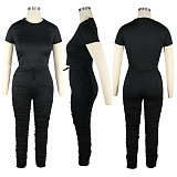Short Sleeve Cotton Tops And Folds Sport Long Pants Two Pieces Set TE-4001