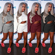 Winter Solid Long Sleeve Loose Sweater 2 Pieces Set MOS-834