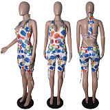 2020 Summer Sexy Backless Fashion Printed Halter Skinny Rompers CN-0010
