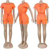 Hot Sale Solid Color Round Neck Short Sleeves Lace-Up Romper NY-8904