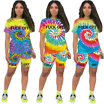 Tie-Dye Positioning Printing Short Sleeves Two-Piece Set OMY-8037
