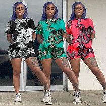 Hot Style Print Round Neck Short Sleeve Two-Piece Set RSN-749