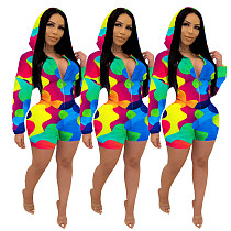 Casual Colorful Printing Waist-Tightening Hooded Two-Piece Set JH-164