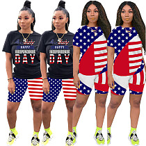 USA Independent Daily Flag Printed Short Sleeve Two-Piece Set LDS-3222