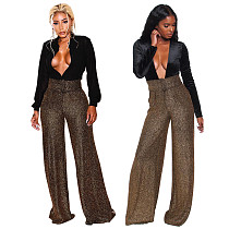 Fashionable High Stretch Gold Wire Wide Bobbin Pants SMR-9608