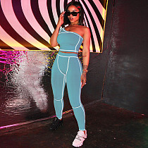 Sexy Solid Color One-Shoulder Line Tight Sports Two-piece Suit SXE-1737512