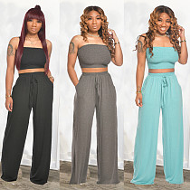 Fashion Pure Color Breasted Wide-Leg Pants Two-piece Set CH-8107